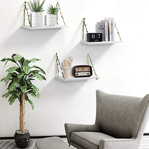 AHDECOR LeafRope Hanging Floating Shelves Wall Swing Storage Shelf For Home Dcor White 3 Pack 0 3