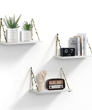 AHDECOR LeafRope Hanging Floating Shelves Wall Swing Storage Shelf For Home Dcor White 3 Pack 0 300x360