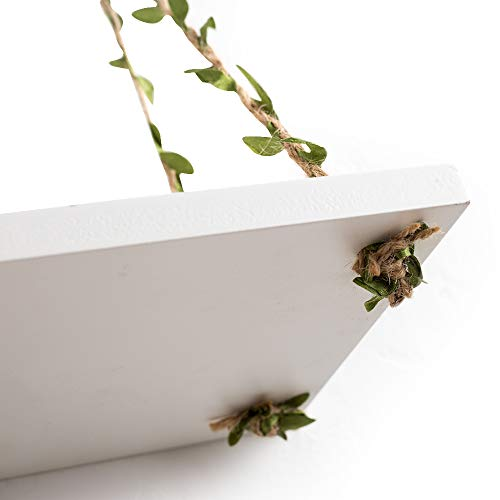 AHDECOR LeafRope Hanging Floating Shelves Wall Swing Storage Shelf For Home Dcor White 3 Pack 0 5