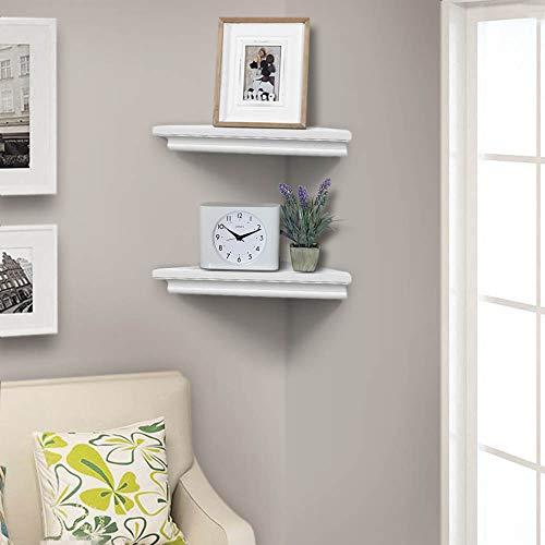 AHDECOR White Corner Wall Shelves Wall Mounted Floating Corner Shelf For Home Dcor 2 Pack 0 3