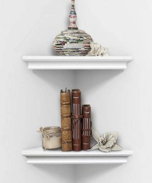AHDECOR White Corner Wall Shelves Wall Mounted Floating Corner Shelf For Home Dcor 2 Pack 0 300x360