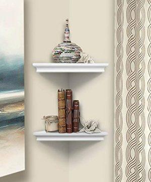 AHDECOR White Corner Wall Shelves Wall Mounted Floating Corner Shelf For Home Dcor 2 Pack 0 4 300x360