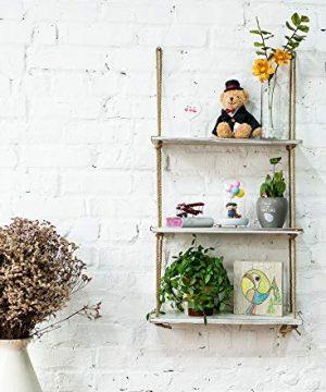 ASLINY Rustic Floating Corner Shelves Wall Mounted 3 Tier Wood Storage Shelf Handmade Rustic White 0 0 300x360