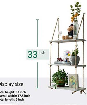 ASLINY Rustic Floating Corner Shelves Wall Mounted 3 Tier Wood Storage Shelf Handmade Rustic White 0 1 300x360