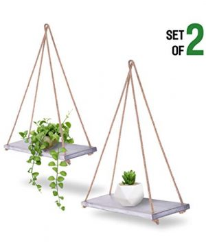 ASLINY Set Of 2 Distressed Wood Hanging Swing Rope Floating Shelves Rustic White 0 300x360