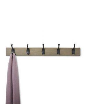AmazonBasics Wall Mounted Coat Rack 5 Modern Hooks Barnwood 0 1 300x360