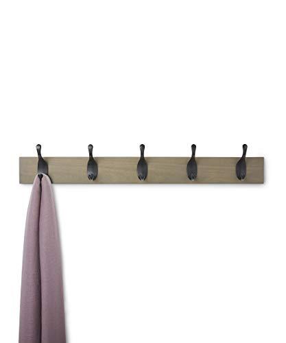 AmazonBasics Wall Mounted Coat Rack 5 Modern Hooks Barnwood 0 1