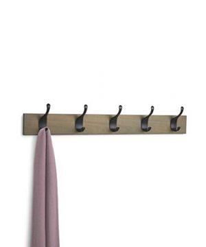 AmazonBasics Wall Mounted Coat Rack 5 Modern Hooks Barnwood 0 2 300x360