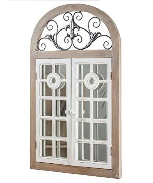 American Art Decor Rustic Farmhouse Cathedral Arch Window Shutter Wall Vanity Accent Mirror 3425 H X 2125 L X 175 D 0 300x360