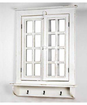 American Art Decor Window Shutter Wall Vanity Mirror With Key Hooks Rustic Country Farmhouse Decor 295 H X 2225 L X 4 D 0 0 300x360