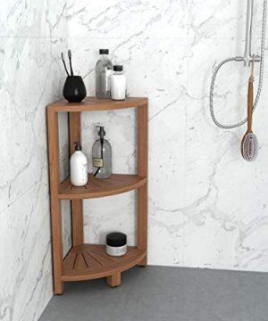 AquaTeak Kai Petite Teak Corner Shower Storage Stand 0 0 300x360
