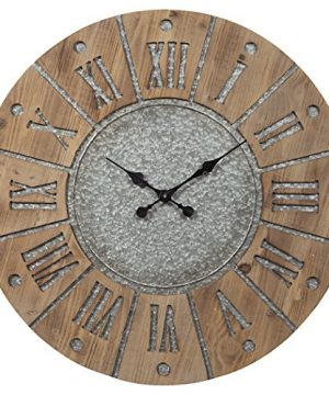 Ashley Furniture Signature Design Payson Wall Clock Farmhouse Style Antique GrayNatural 0 300x360