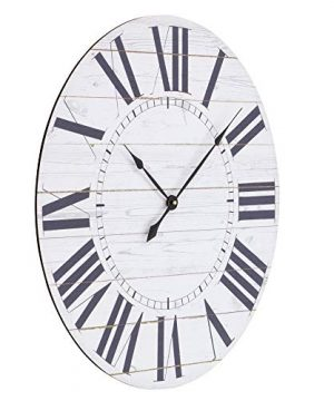 Aspire Estelle French Country Shiplap Face Wall Clock White 0 0 300x360