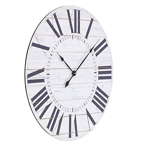Aspire Estelle French Country Shiplap Face Wall Clock White 0 0