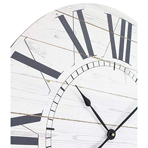 Aspire Estelle French Country Shiplap Face Wall Clock White 0 1