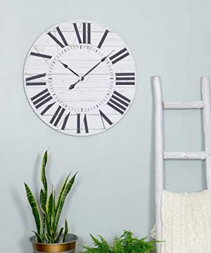 Aspire Estelle French Country Shiplap Face Wall Clock White 0 3 300x360