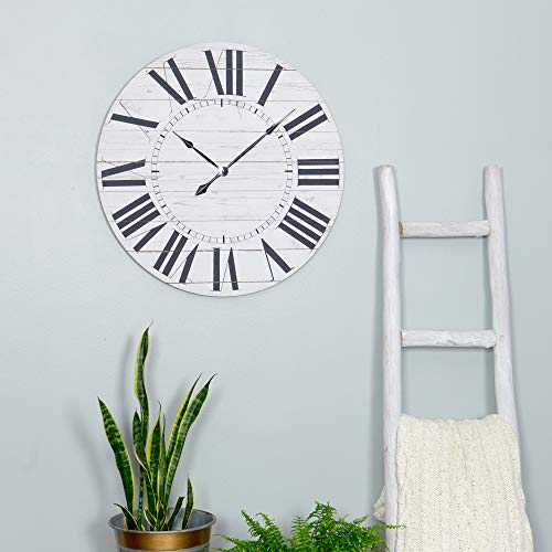 Aspire Estelle French Country Shiplap Face Wall Clock White 0 3