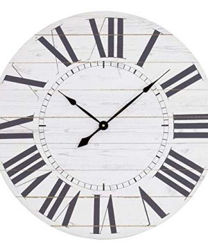 Aspire Estelle French Country Shiplap Face Wall Clock White 0 300x360