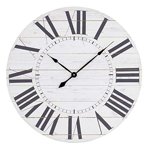 Aspire Estelle French Country Shiplap Face Wall Clock White 0