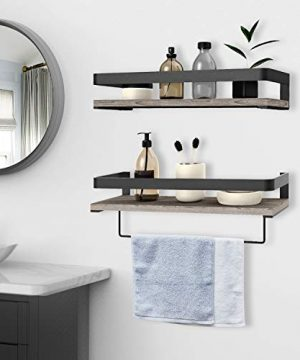 Audoc Floating Shelves Wall Mounted 2 Set Bathroom Shelf With Rail Towel Bar And 5 Hooks Decorative Storage Shelves For Kitchen Bathroom Living Room Bedroom Rustic Pine Wood165inch 0 1 300x360