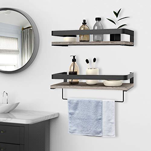 Audoc Floating Shelves Wall Mounted 2 Set Bathroom Shelf With Rail Towel Bar And 5 Hooks Decorative Storage Shelves For Kitchen Bathroom Living Room Bedroom Rustic Pine Wood165inch 0 1