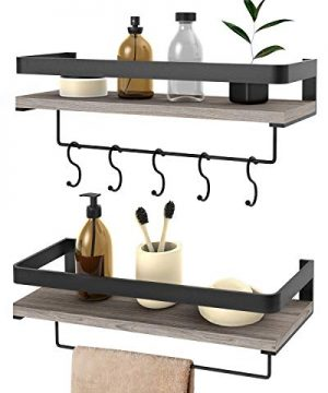 Audoc Floating Shelves Wall Mounted 2 Set Bathroom Shelf With Rail Towel Bar And 5 Hooks Decorative Storage Shelves For Kitchen Bathroom Living Room Bedroom Rustic Pine Wood165inch 0 300x360