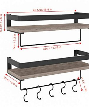 Audoc Floating Shelves Wall Mounted 2 Set Bathroom Shelf With Rail Towel Bar And 5 Hooks Decorative Storage Shelves For Kitchen Bathroom Living Room Bedroom Rustic Pine Wood165inch 0 4 300x360