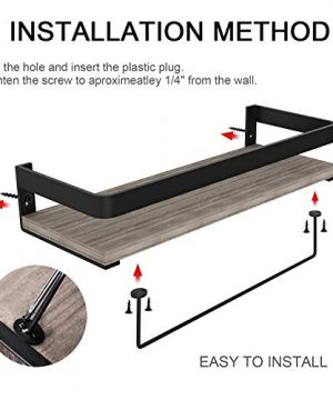 Audoc Floating Shelves Wall Mounted 2 Set Bathroom Shelf With Rail Towel Bar And 5 Hooks Decorative Storage Shelves For Kitchen Bathroom Living Room Bedroom Rustic Pine Wood165inch 0 5 300x360
