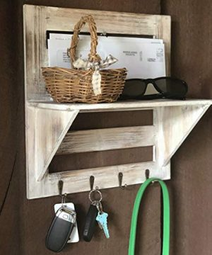 Autumn Alley Rustic Wood Wall Mounted Entry Organizer With 4 Key Hooks Key Rack Mail Shelf One Of A Kind Finish Adds Warmth Compact Size And Sturdy Construction 0 0 300x360