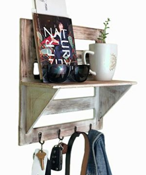 Autumn Alley Rustic Wood Wall Mounted Entry Organizer With 4 Key Hooks Key Rack Mail Shelf One Of A Kind Finish Adds Warmth Compact Size And Sturdy Construction 0 1 300x360