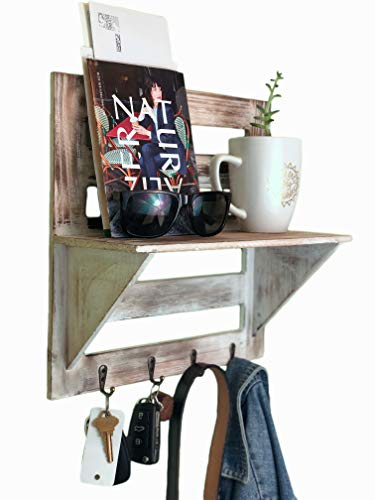 Autumn Alley Rustic Wood Wall Mounted Entry Organizer With 4 Key Hooks Key Rack Mail Shelf One Of A Kind Finish Adds Warmth Compact Size And Sturdy Construction 0 1