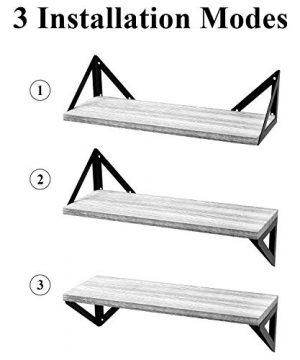 BAYKA Floating Shelves Wall Mounted Rustic Wood Wall Shelves Set Of 3 For Bedroom Bathroom Living Room Kitchen Gray 0 0 300x360