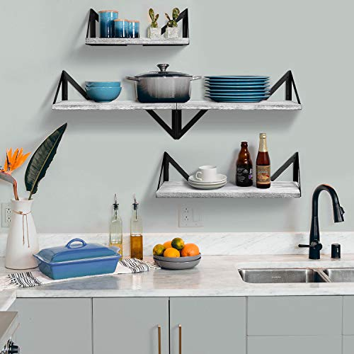 BAYKA Floating Shelves Wall Mounted Rustic Wood Wall Shelves Set Of 3 For Bedroom Bathroom Living Room Kitchen Gray 0 1