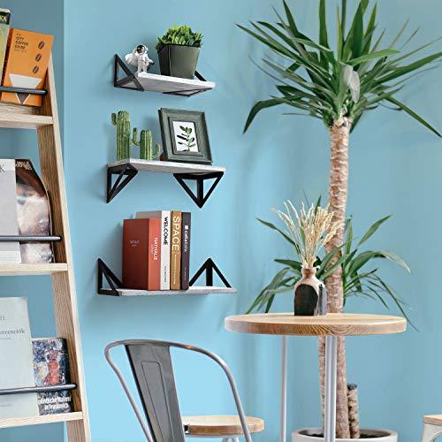 BAYKA Floating Shelves Wall Mounted Rustic Wood Wall Shelves Set Of 3 For Bedroom Bathroom Living Room Kitchen Gray 0 2