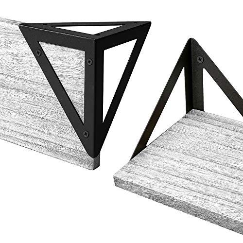 BAYKA Floating Shelves Wall Mounted Set of 3,Kitchen Rustic Wood Wall Shelves