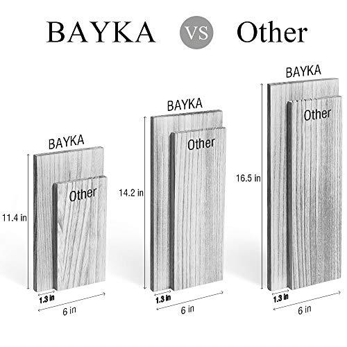 BAYKA Floating Shelves Wall Mounted Rustic Wood Wall Shelves Set Of 3 For Bedroom Bathroom Living Room Kitchen Gray 0 4