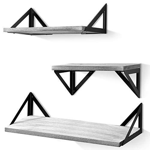 BAYKA Floating Shelves Wall Mounted Rustic Wood Wall Shelves Set Of 3 For Bedroom Bathroom Living Room Kitchen Gray 0