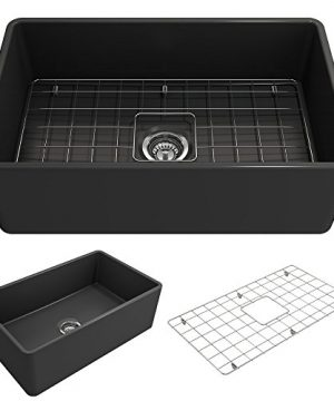 BOCCHI 1138 020 0120 Classico Apron Front Fireclay 30 In Single Bowl Kitchen Sink With Protective Bottom Grid And Strainer In Anthracite Dark Gray 0 300x360