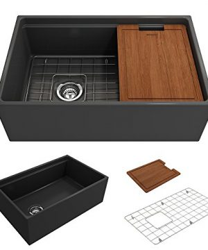BOCCHI 1344 020 0120 Contempo Apron Front Step Rim Fireclay 30 In Single Bowl Kitchen Sink With Protective Bottom Grid And Strainer In Anthracite Dark Gray 0 300x360