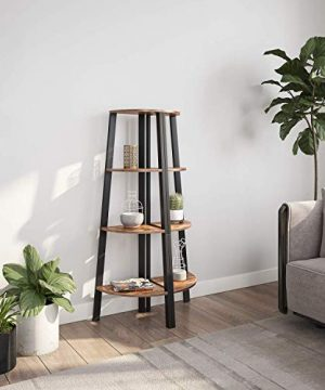 Ballucci Industrial Coner Bookcase Shelf 4 Tier Coner Shelf Storage Rack Wood Accent Furniture For Living Room Office Or Bedroom Wood Plant Stand With Metal Frame Rustic Brown 0 0 300x360