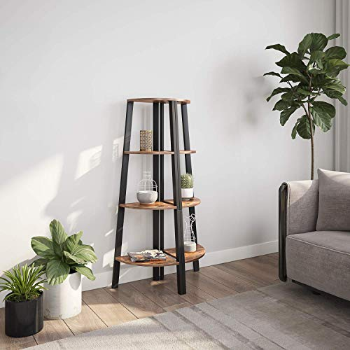 Ballucci Industrial Coner Bookcase Shelf 4 Tier Coner Shelf Storage Rack Wood Accent Furniture For Living Room Office Or Bedroom Wood Plant Stand With Metal Frame Rustic Brown 0 0