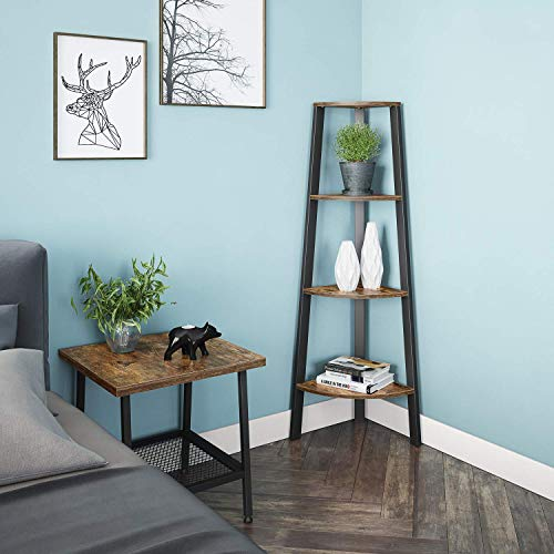 Ballucci Industrial Coner Bookcase Shelf 4 Tier Coner Shelf Storage Rack Wood Accent Furniture For Living Room Office Or Bedroom Wood Plant Stand With Metal Frame Rustic Brown 0 1