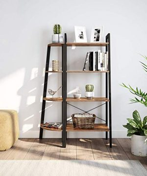 Ballucci Industrial Coner Bookcase Shelf 4 Tier Coner Shelf Storage Rack Wood Accent Furniture For Living Room Office Or Bedroom Wood Plant Stand With Metal Frame Rustic Brown 0 2 300x360