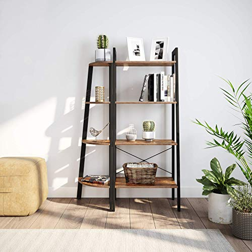 Ballucci Industrial Coner Bookcase Shelf 4 Tier Coner Shelf Storage Rack Wood Accent Furniture For Living Room Office Or Bedroom Wood Plant Stand With Metal Frame Rustic Brown 0 2