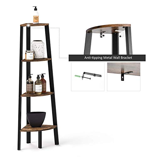 Ballucci Industrial Coner Bookcase Shelf 4 Tier Coner Shelf Storage Rack Wood Accent Furniture For Living Room Office Or Bedroom Wood Plant Stand With Metal Frame Rustic Brown 0 3