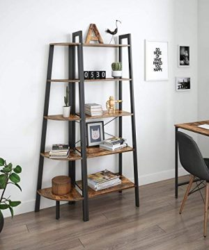 Ballucci Industrial Corner Shelf 5 Tier Bookcase Storage Rack Wood Plant Stand For Home Or Office Accent Furniture With Metal Frame Rustic Brown 0 0 300x360