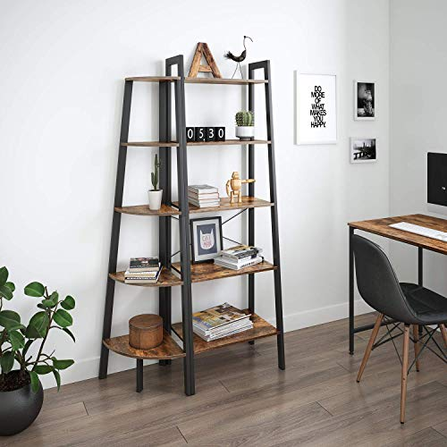 Ballucci Industrial Corner Shelf 5 Tier Bookcase Storage Rack Wood Plant Stand For Home Or Office Accent Furniture With Metal Frame Rustic Brown 0 0