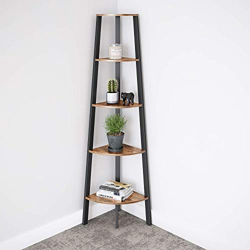 Ballucci Industrial Corner Shelf 5 Tier Bookcase Storage Rack Wood Plant Stand For Home Or Office Accent Furniture With Metal Frame Rustic Brown 0 1