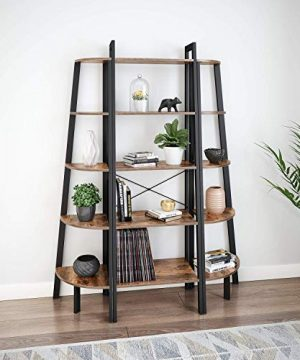 Ballucci Industrial Corner Shelf 5 Tier Bookcase Storage Rack Wood Plant Stand For Home Or Office Accent Furniture With Metal Frame Rustic Brown 0 2 300x360