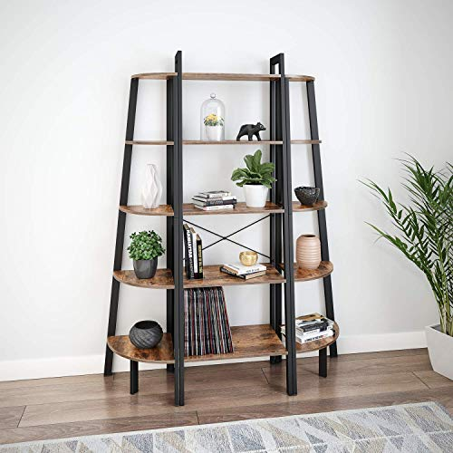 Ballucci Industrial Corner Shelf 5 Tier Bookcase Storage Rack Wood Plant Stand For Home Or Office Accent Furniture With Metal Frame Rustic Brown 0 2